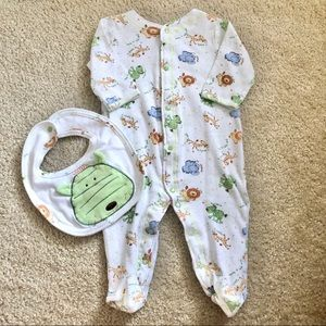 3/$25 NWOT Little Me Safari Footie & Bib Set